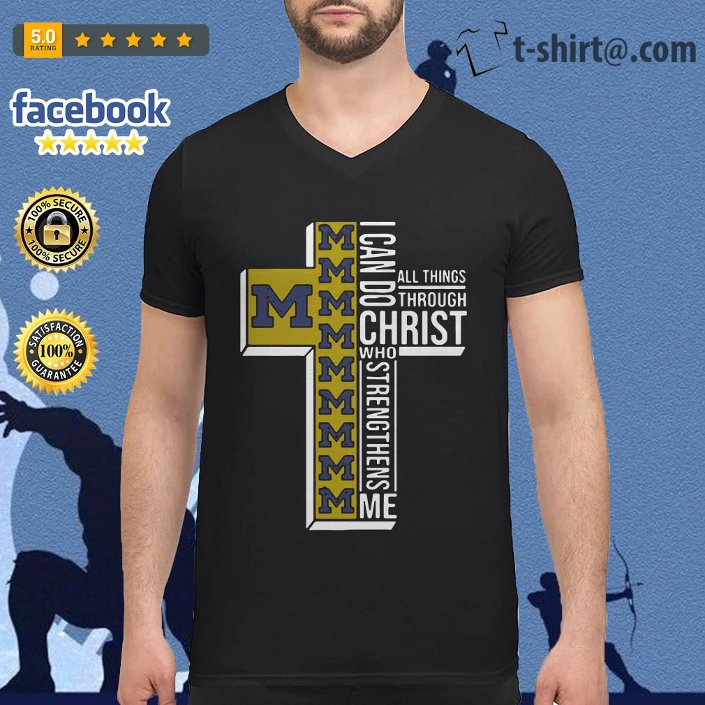 Michigan Wolverines I can do all things through Christ who strengthens me V-neck T-shirt