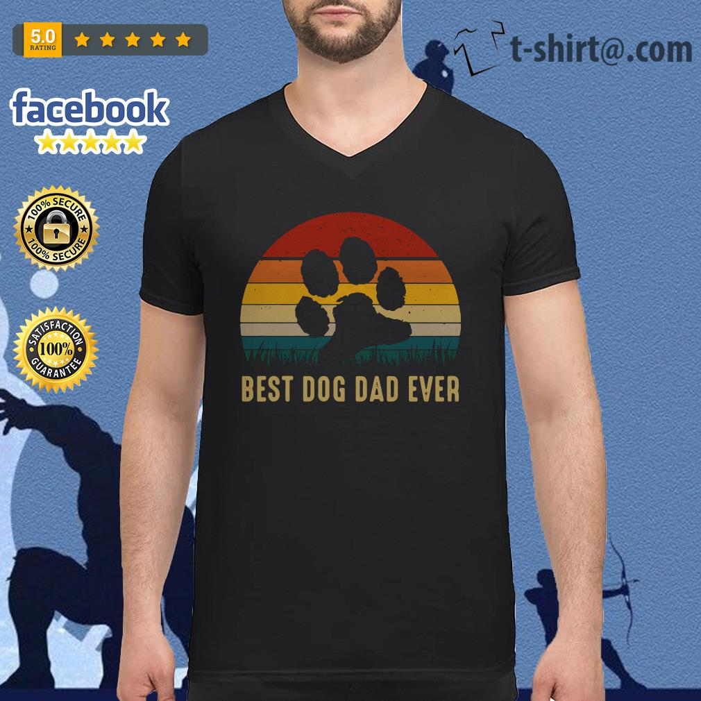 Paw best dog dad ever vintage V-neck T-shirt