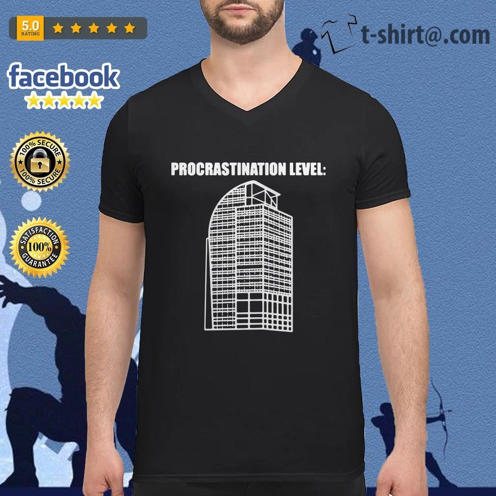 Procrastination Level V-neck t-shirt