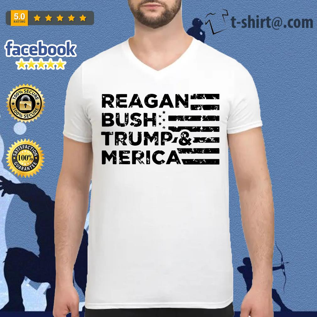 Reagan Bush Trump and Merica Veteran V-neck T-shirt