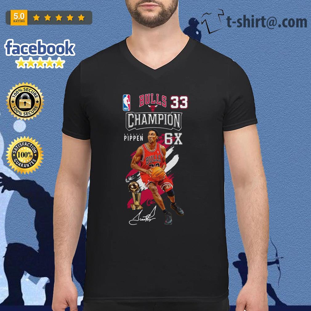 Scottie Pippen NBA bulls 33 Champion 6X V-neck T-shirt
