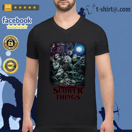 Sloth Slower Things Stranger Things Season 3 V-neck T-shirt
