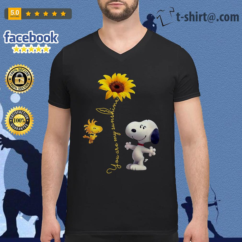 Snoopy and Woodstock sunflower you are my sunshine V-neck t-shirt