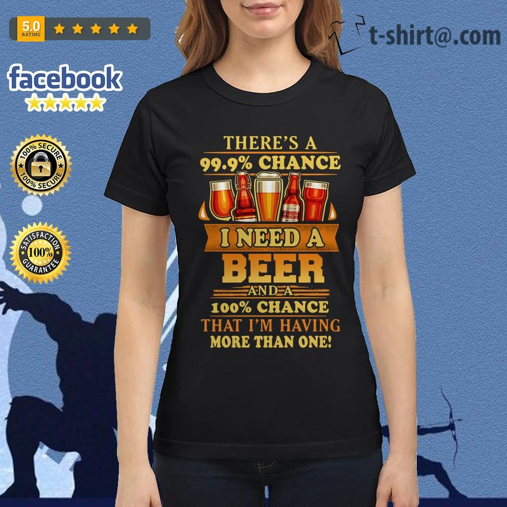 There's a 99.9% chance I need a beer and a 100% chance Ladies Tee