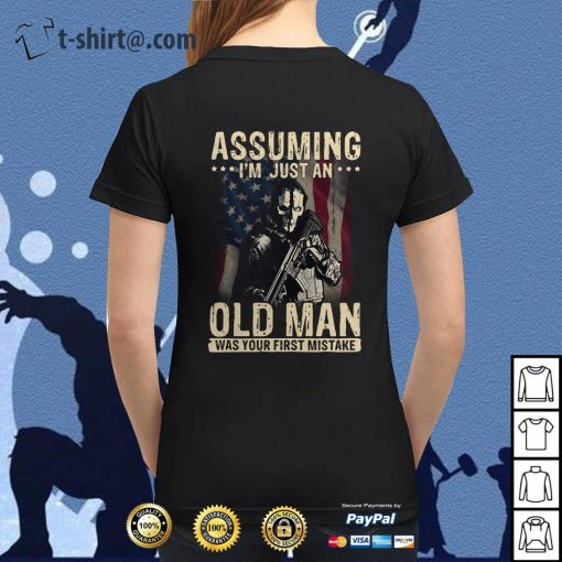 Veteran soldier assuming I'm just an old man was your first mistake Ladies Tee