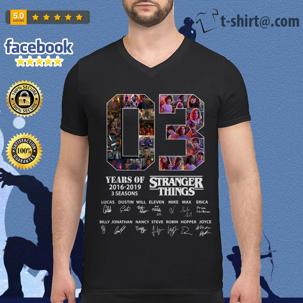 03 Years of Stranger Things 2016-2019 3 seasons Lucas Dustin Will signatures V-neck T-shirt