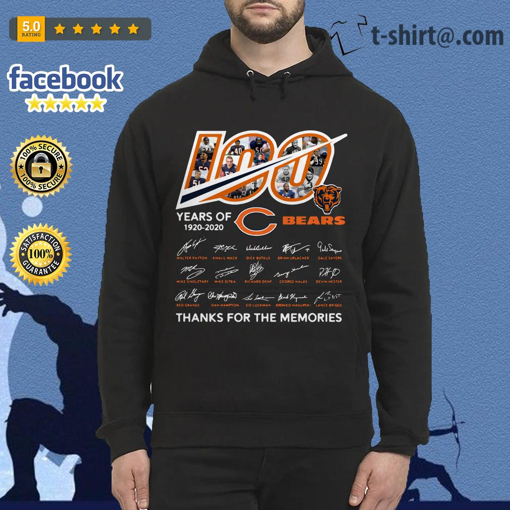 100 Years of 1920-2020 Chicago Bears thank for the memories signatures Hoodie