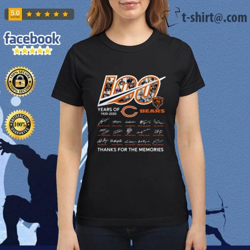 100 Years of 1920-2020 Chicago Bears thank for the memories signatures Ladies Tee