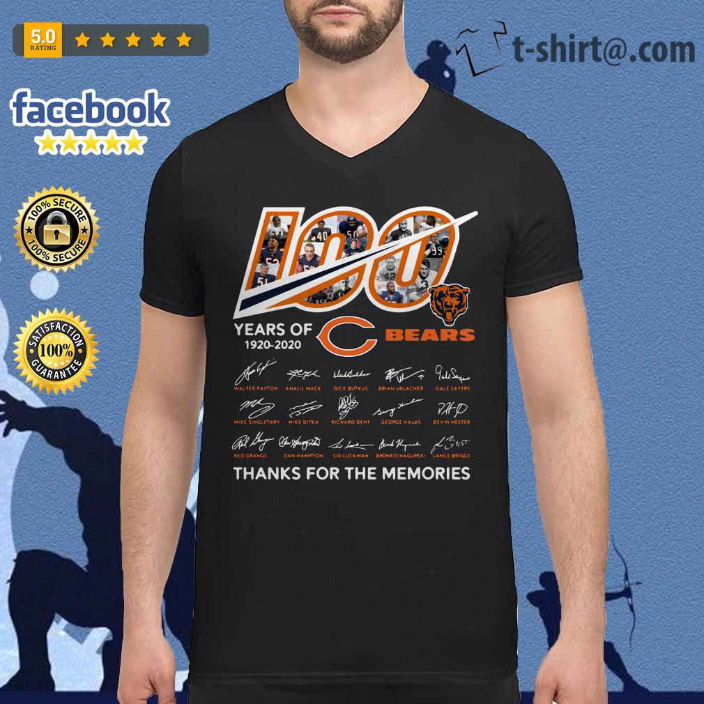 100 Years of 1920-2020 Chicago Bears thank for the memories signatures V-neck T-shirt