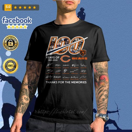 100 Years of 1920-2020 Chicago Bears thank for the memories signatures shirt