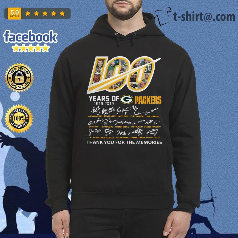 100 Years of Green Bay Packers 1919-2019 signatures hoodie