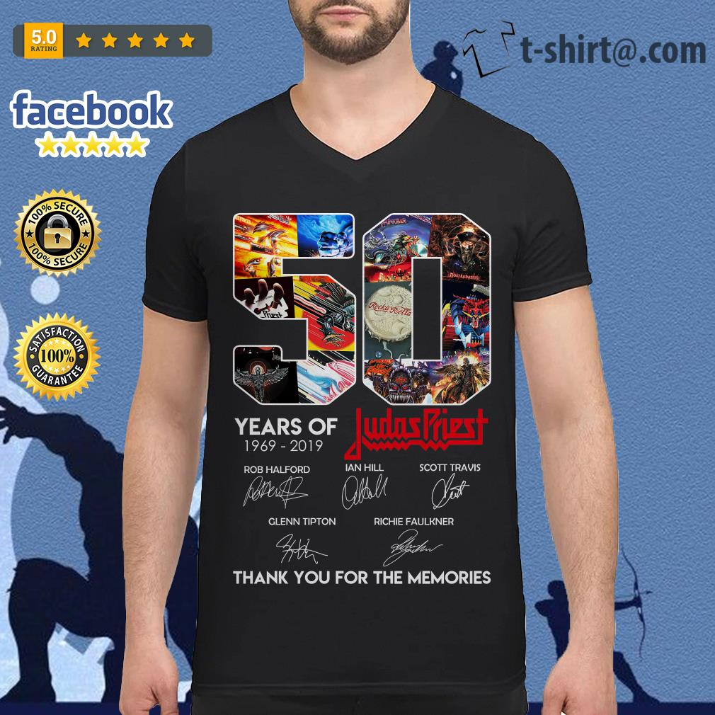 50 Years of Judas Priest 1969-2019 thank you for the memories signature V-neck T-shirt