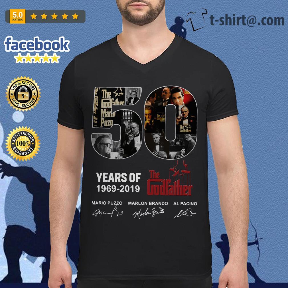 50 Years of The Godfather 1969-2019 signatures V-neck T-shirt