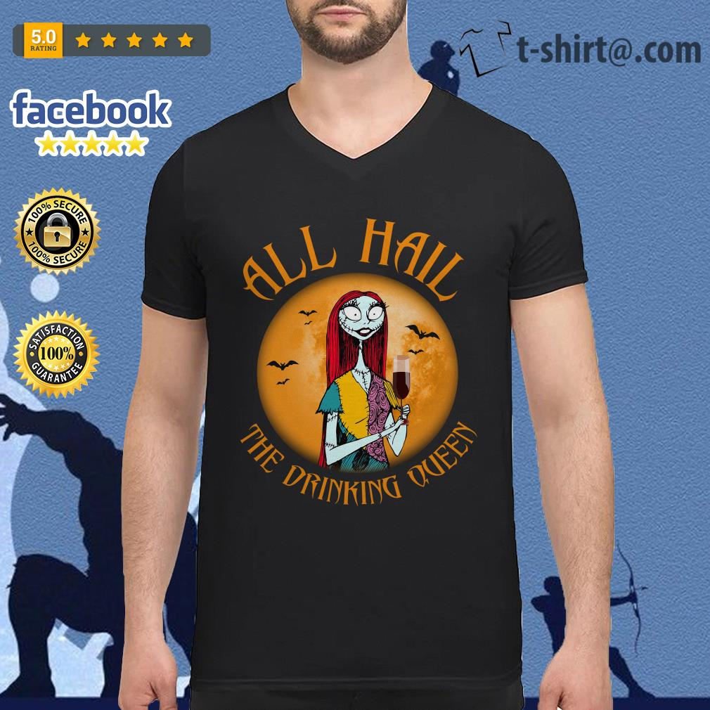 All hall the drinking Queen Nightmare Before Christmas wine V-neck T-shirt