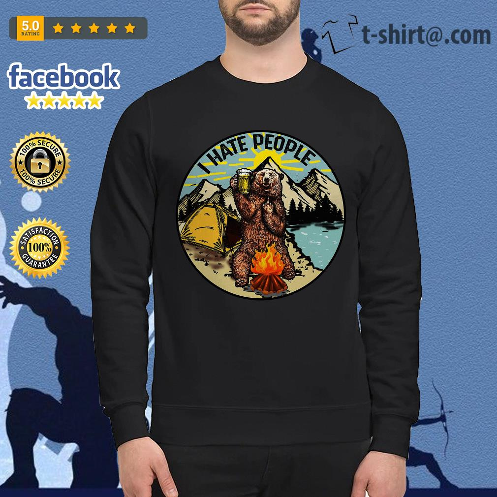 Bear camping I hate people Sweater