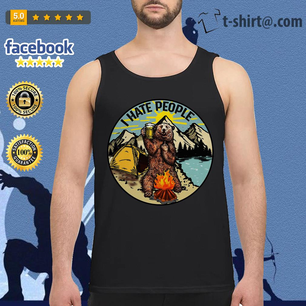 Bear camping I hate people tank top
