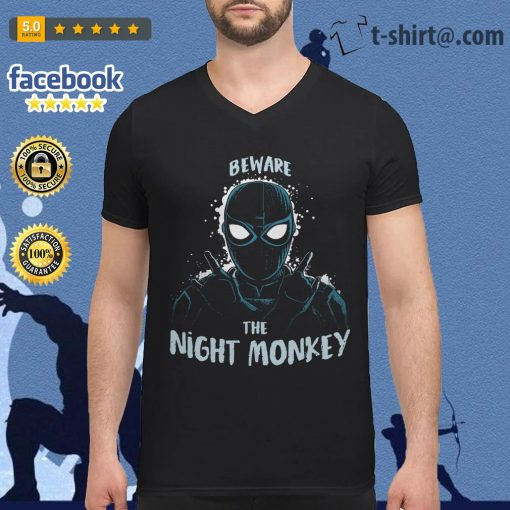 Beware the night monkey Spider-Man far from home V-neck T-shirt