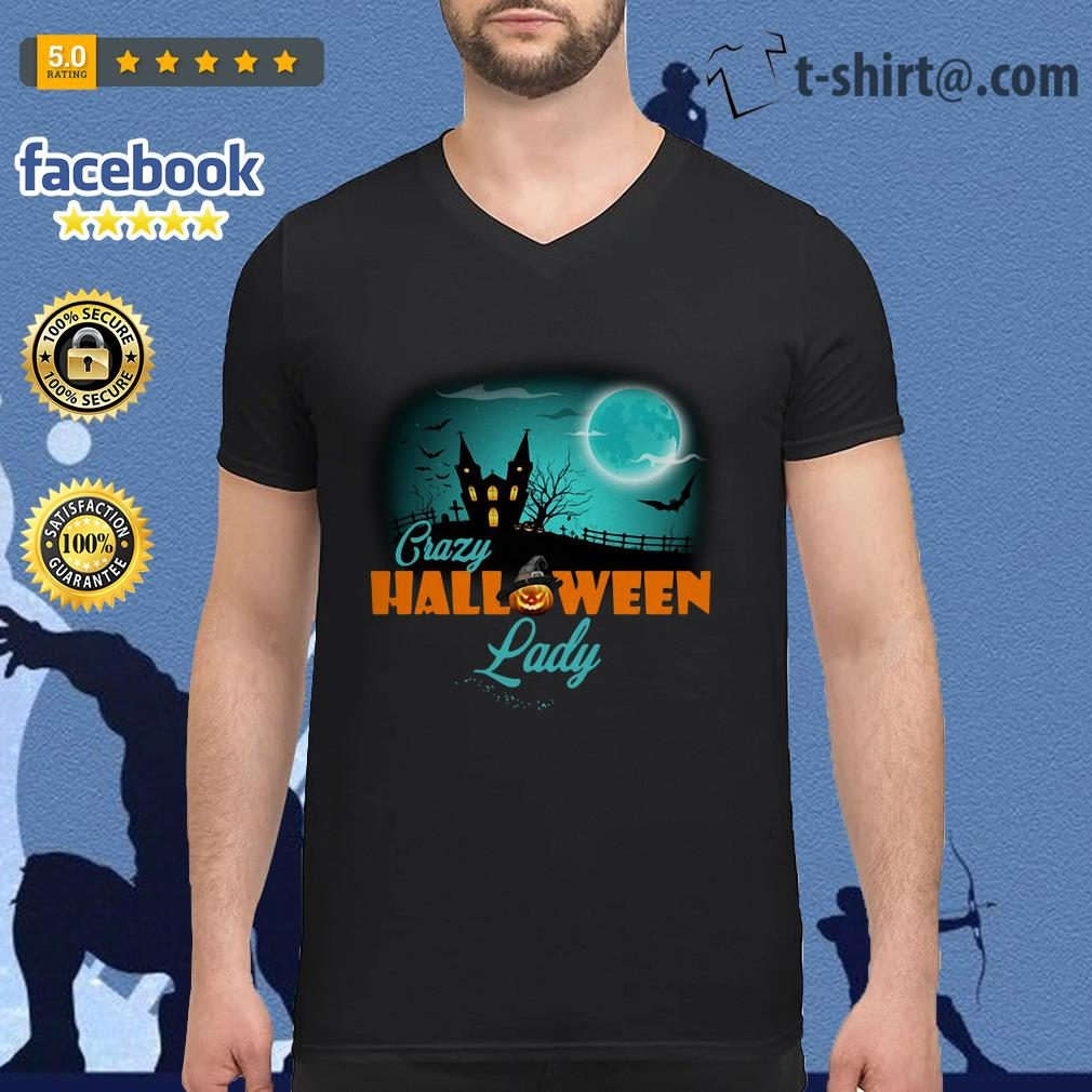 Crazy Halloween lady V-neck T-shirt