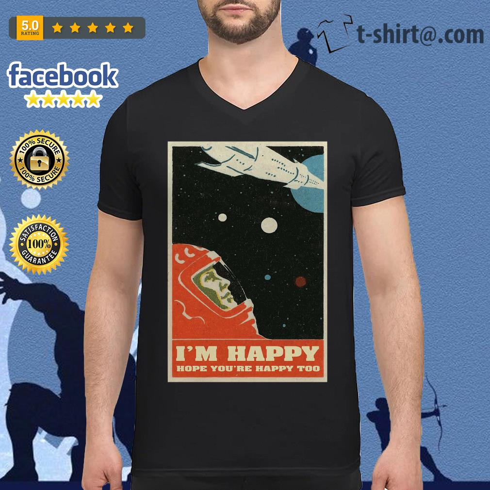 David Bowie I'm happy hope you're happy too poster v-neck-t-shirt