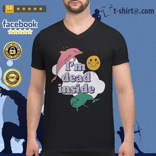 Dolphins I'm dead inside sunshine V-neck T-shirt