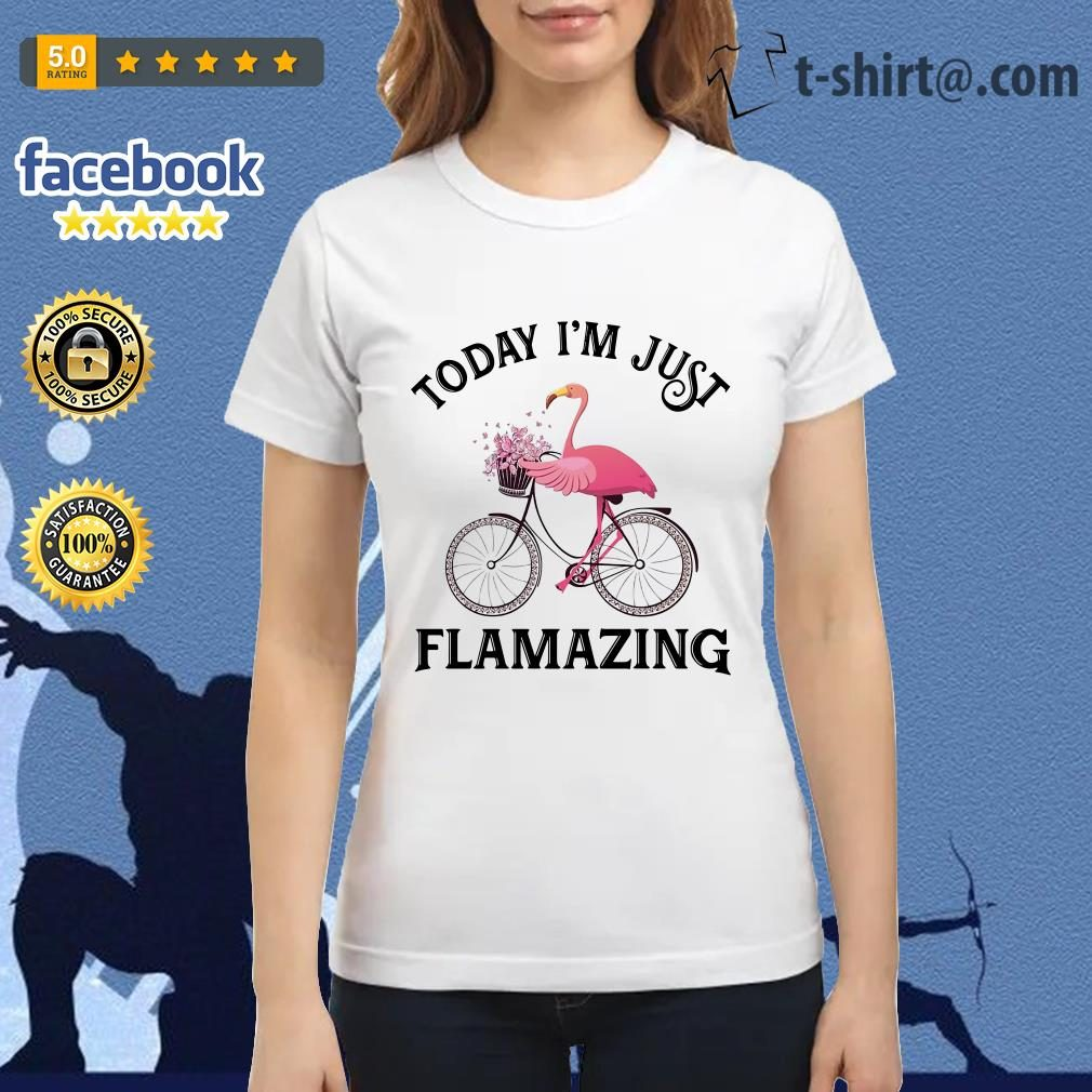 Flamingo riding bike today I'm just Flamazing Ladies Tee