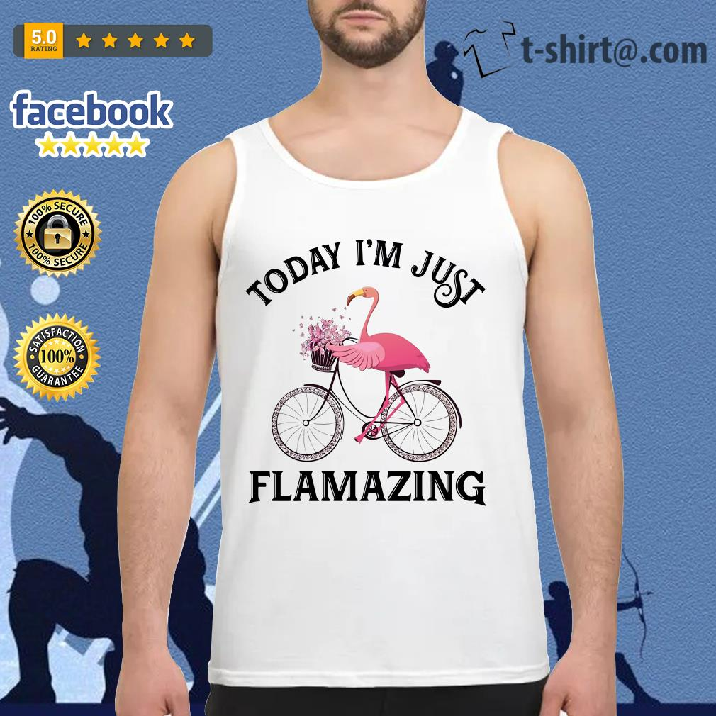 Flamingo riding bike today I'm just Flamazing Tank top