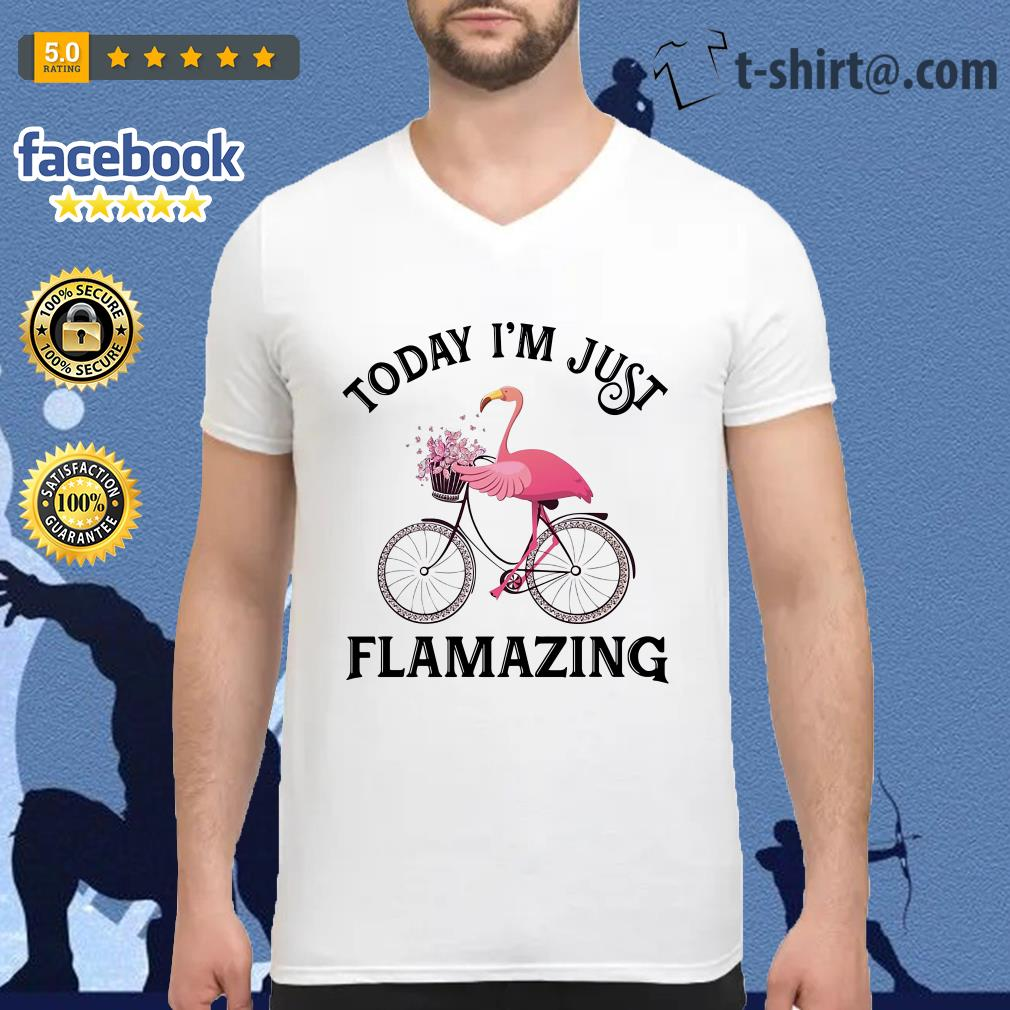 Flamingo riding bike today I'm just Flamazing V-neck T-shirt