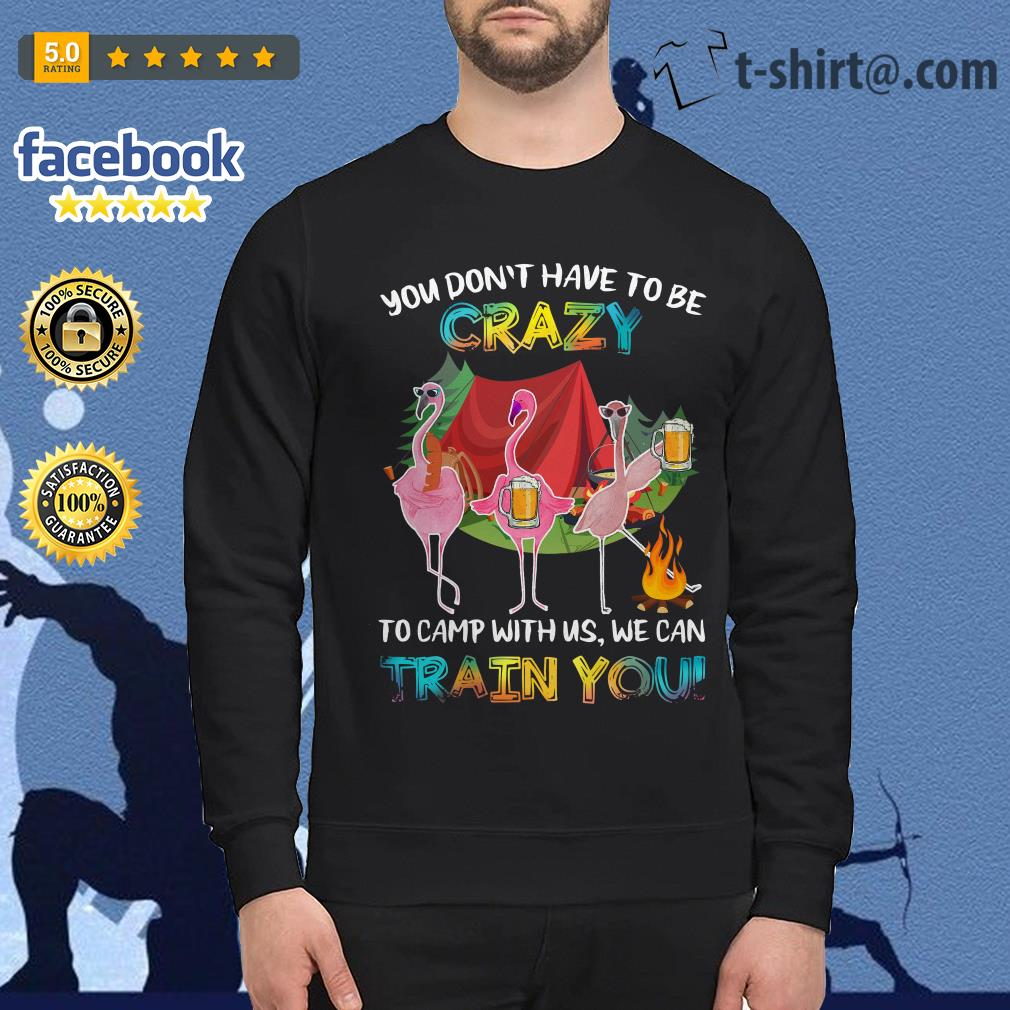 Flamingos you don't have to be to camp with us we can train you Sweater