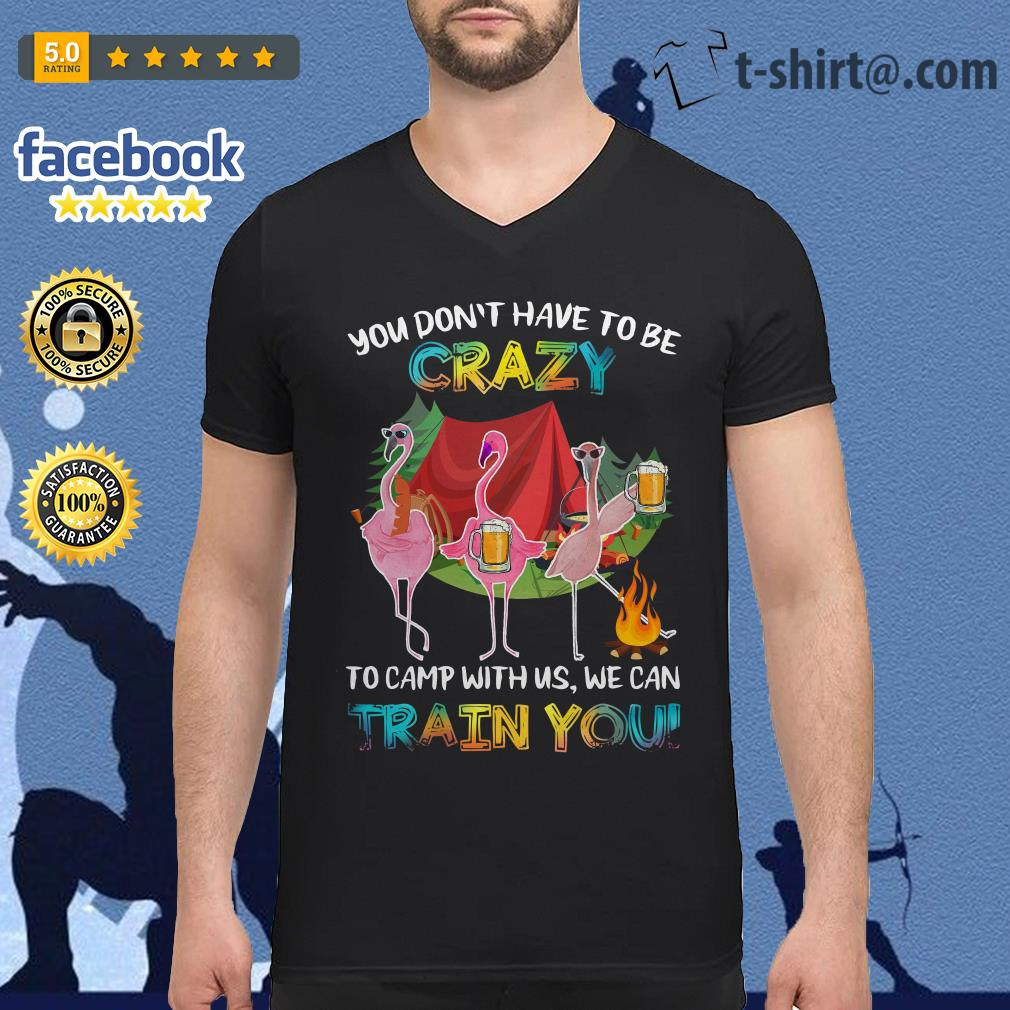 Flamingos you don't have to be to camp with us we can train you V-neck T-shirt