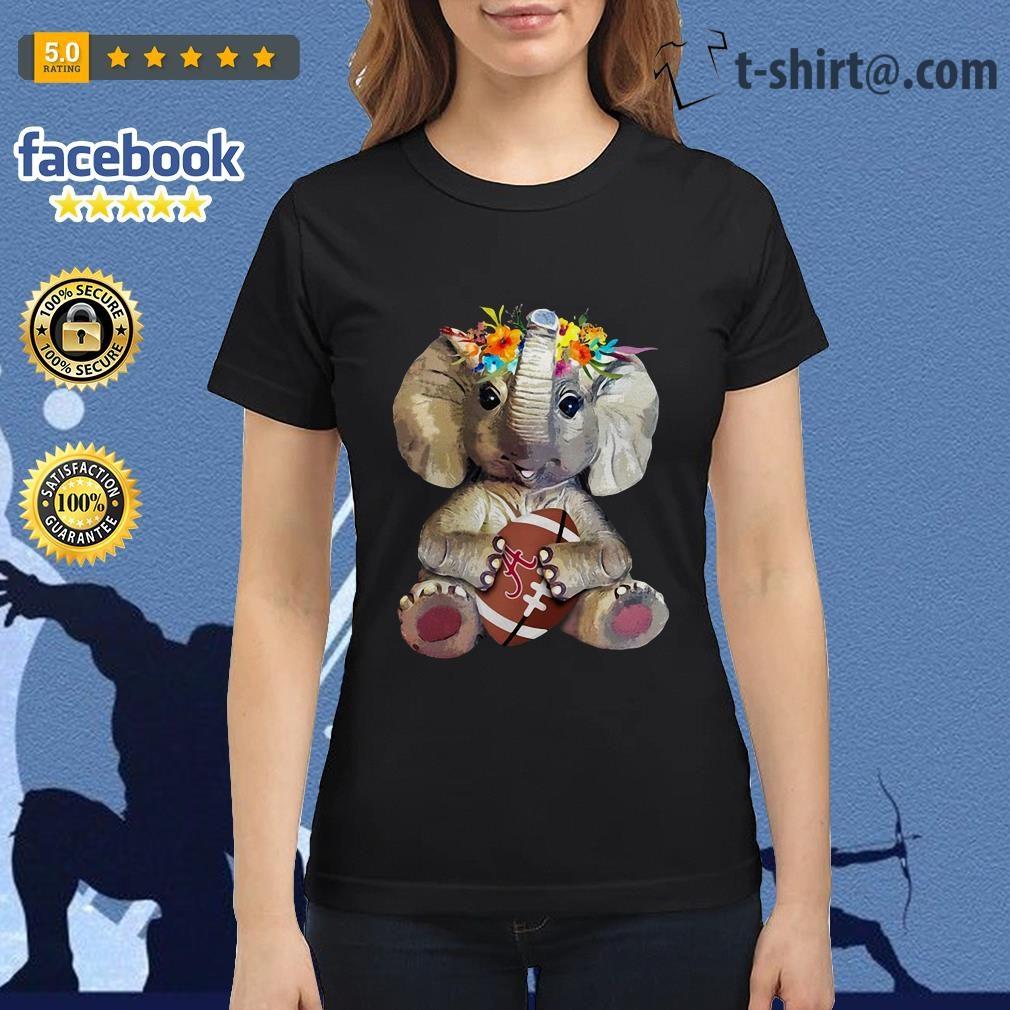 Floral elephant Alabama Crimson Tide football Ladies Tee