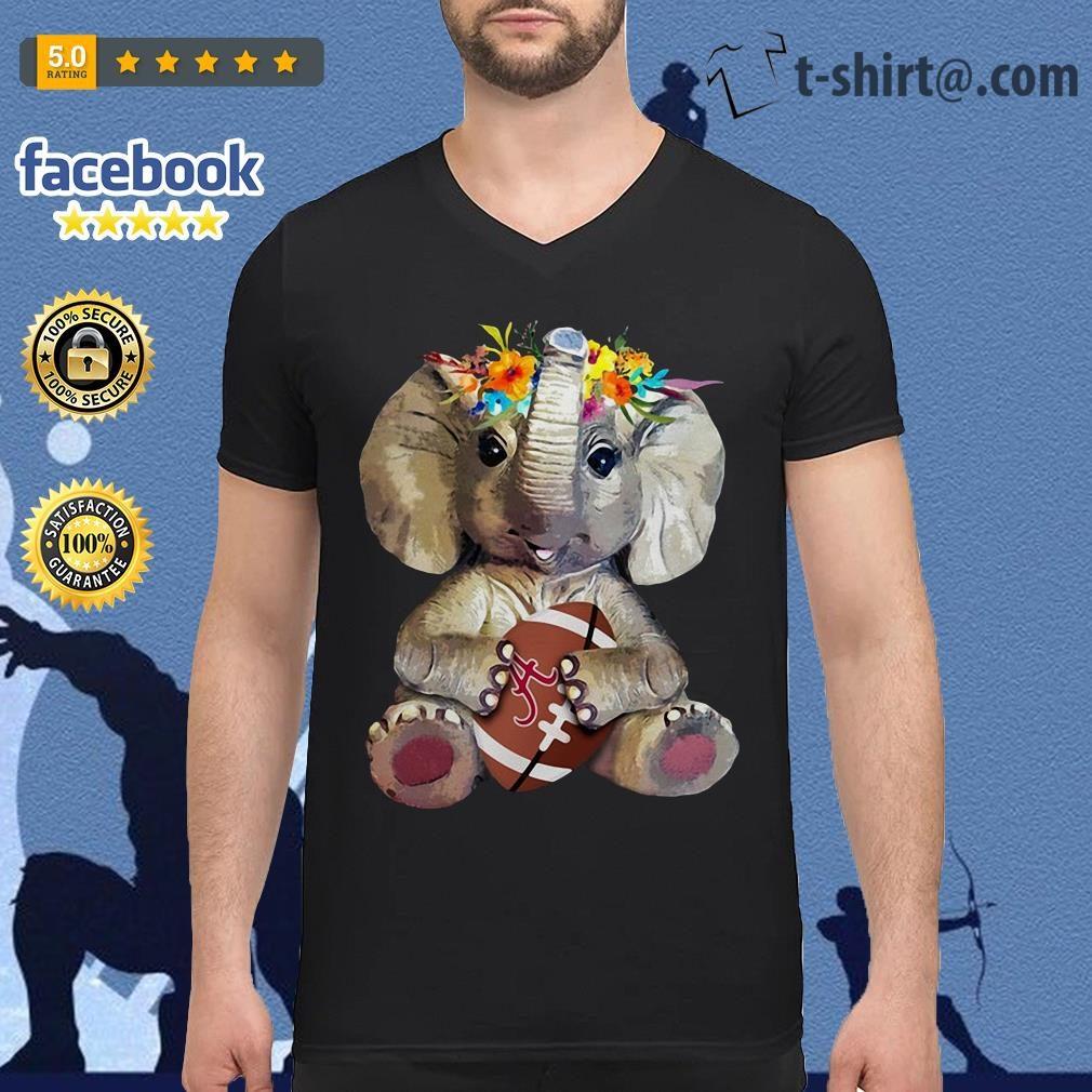 Floral elephant Alabama Crimson Tide football V-neck T-shirt