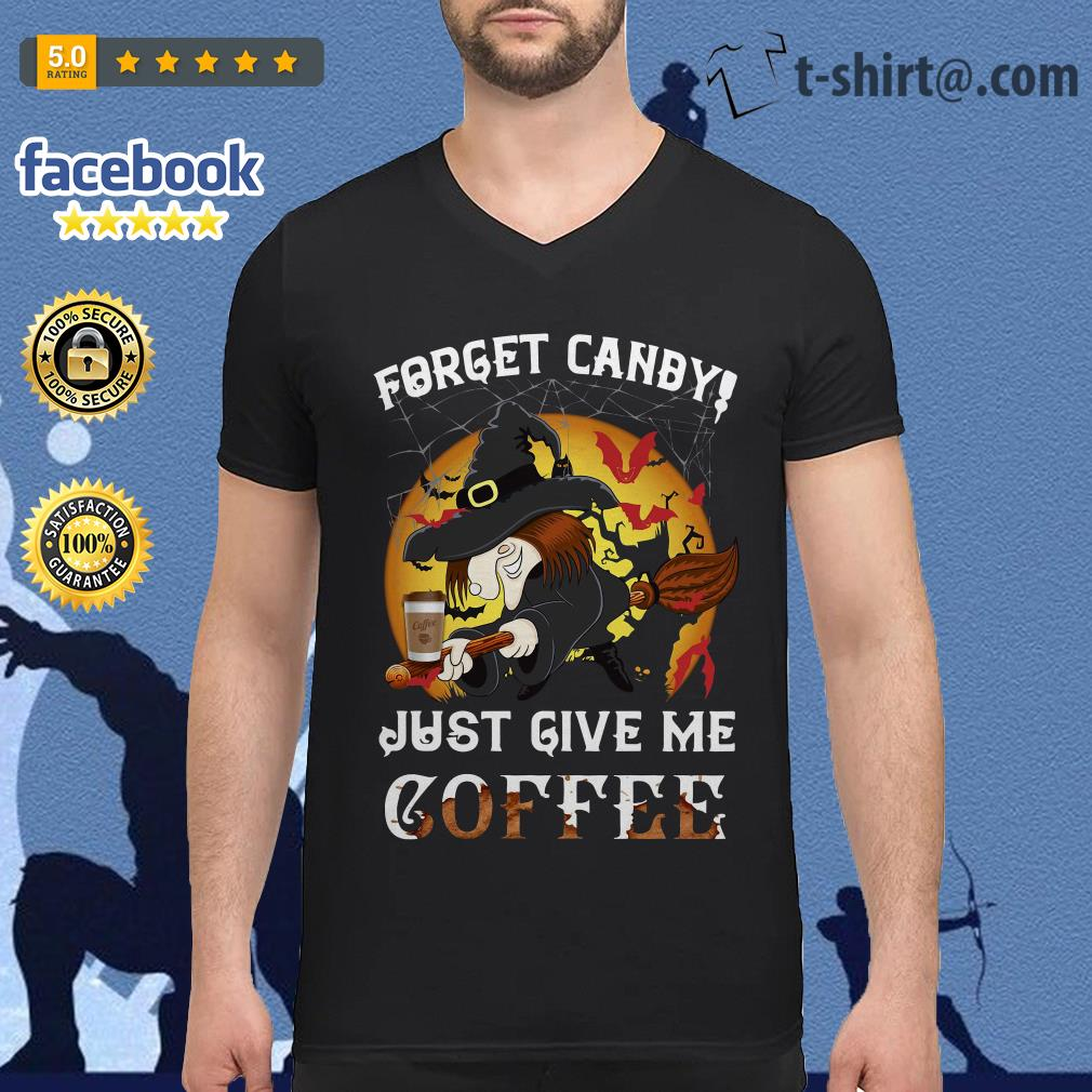 Forget Canby just give me coffee Halloween V-neck T-shirt