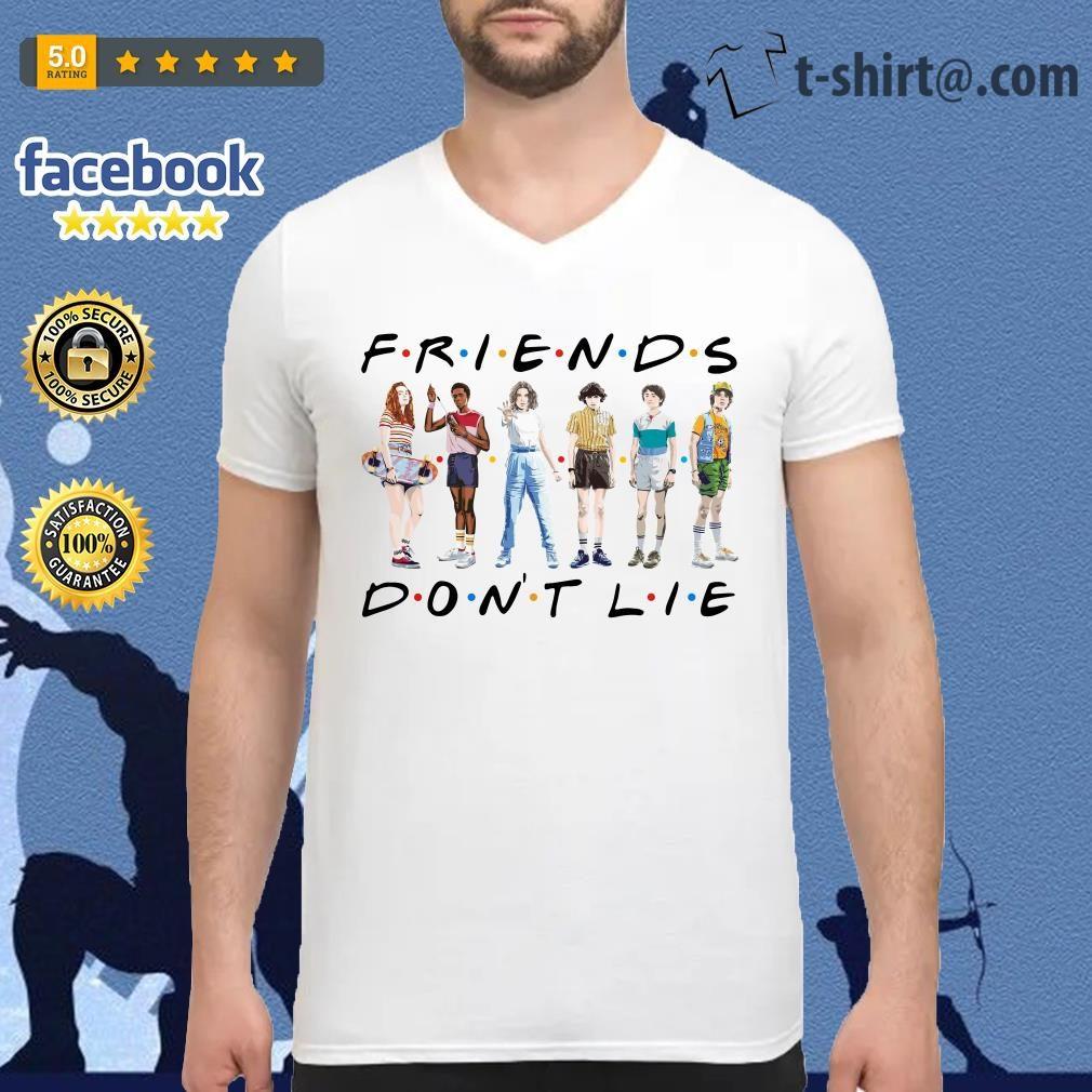 FRIENDS Stranger Things 3 friends don't lie V-neck T-shirt