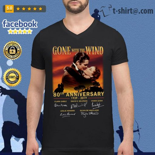 Gone With The Wind 80th Anniversary 1939-2019 signatures V-neck T-shirt