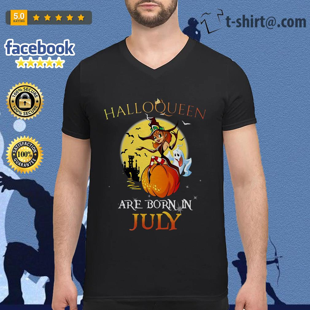 Halloqueen are born in July V-neck T-shirt