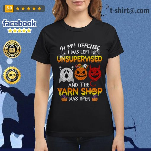 Halloween in my defense I was left unsupervised and the yarn shop was open Ladies Tee