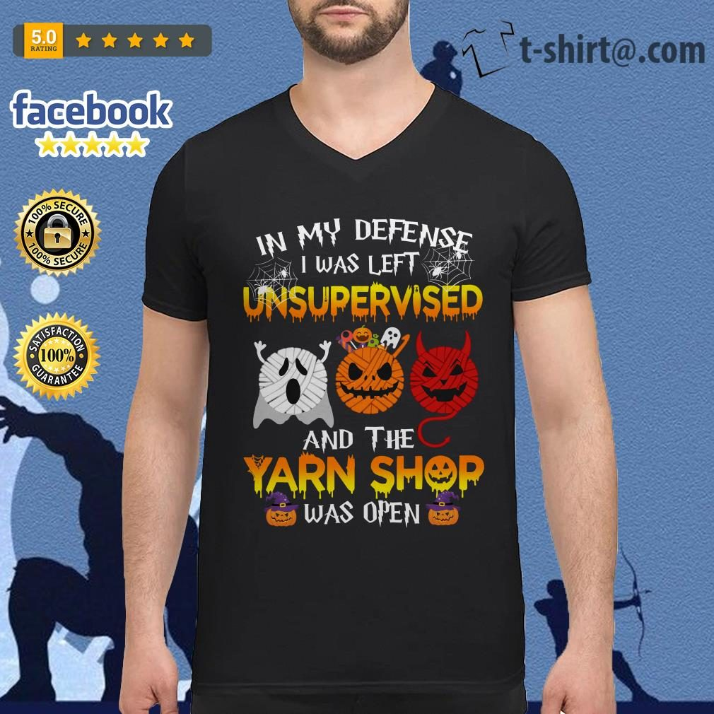 Halloween in my defense I was left unsupervised and the yarn shop was open V-neck T-shirt