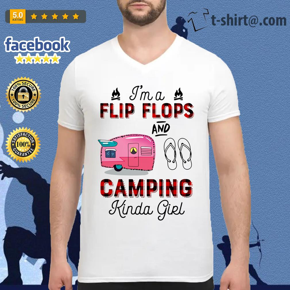 I'm a flip flop and camping Kinda girl V-neck T-shirt