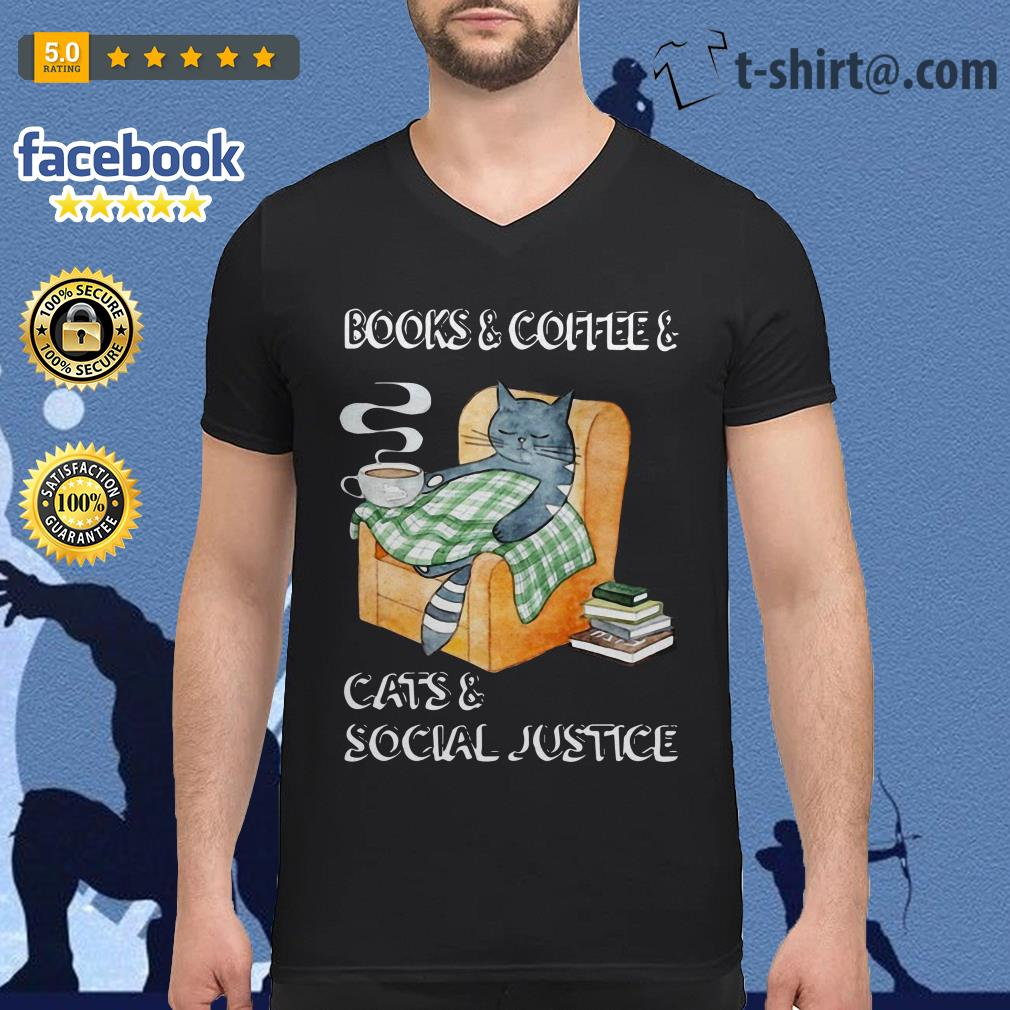 Official books and coffee and cats and social justice V-neck T-shirt