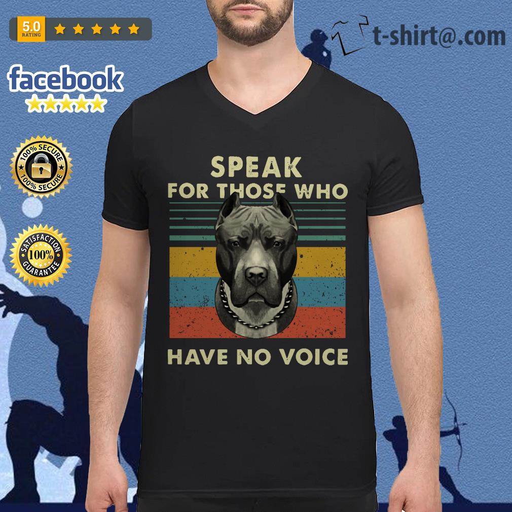Pitbull speak for those who have no voice vintage V-neck T-shirt