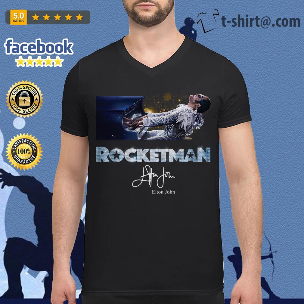 Rocketman Elton John signature V-neck T-shirt