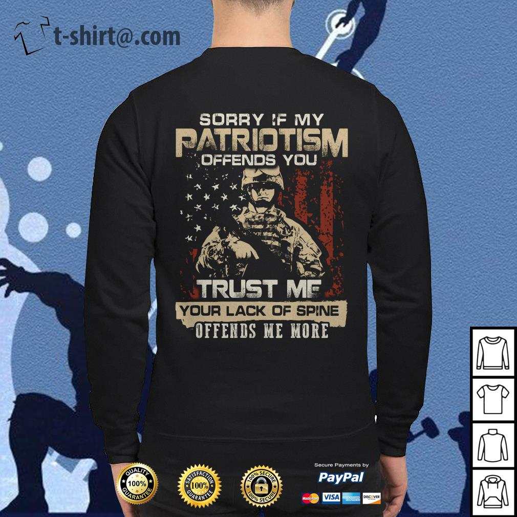 Sorry if my Patriotism offends you trust me your lack of spine Veteran Sweater