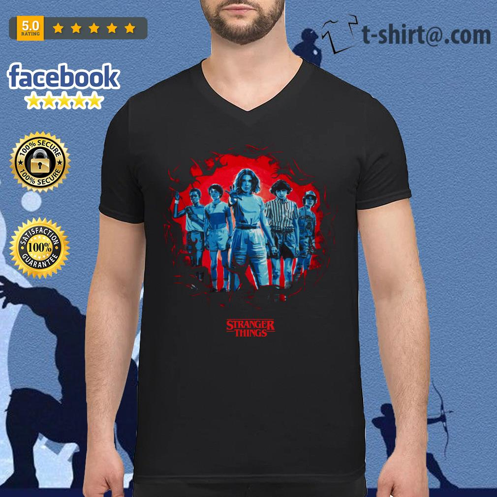 Stranger Things season 3 Eleven and friends killer Mindflayer V-neck T-shirt