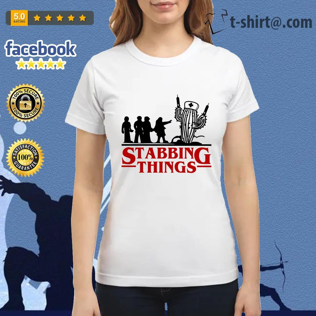 Stranger Things Stabbing Things nurse cactus Ladies Tee