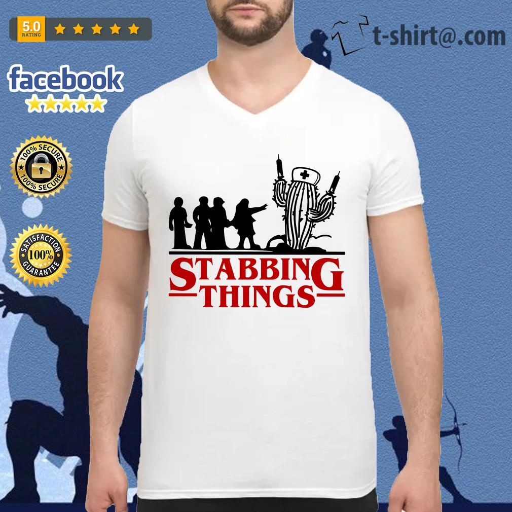 Stranger Things Stabbing Things nurse cactus V-neck T-shirt