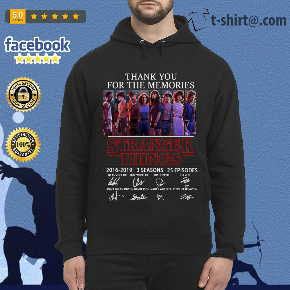 Thank you for the memories Stranger Things 2016-2019 signatures Hoodie