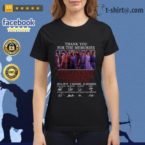 Thank you for the memories Stranger Things 2016-2019 signatures Ladies Tee