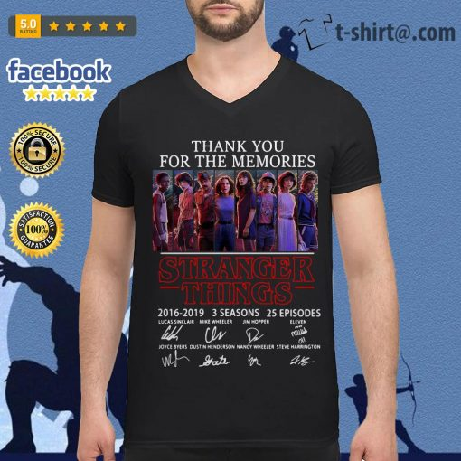 Thank you for the memories Stranger Things 2016-2019 signatures V-neck T-shirt