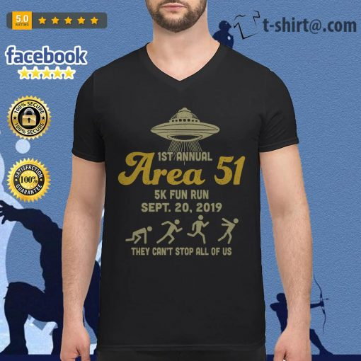UFO 1st annual Area 51 5k fun run Sept 20 2019 they can't stop all of us V-neck T-shirt