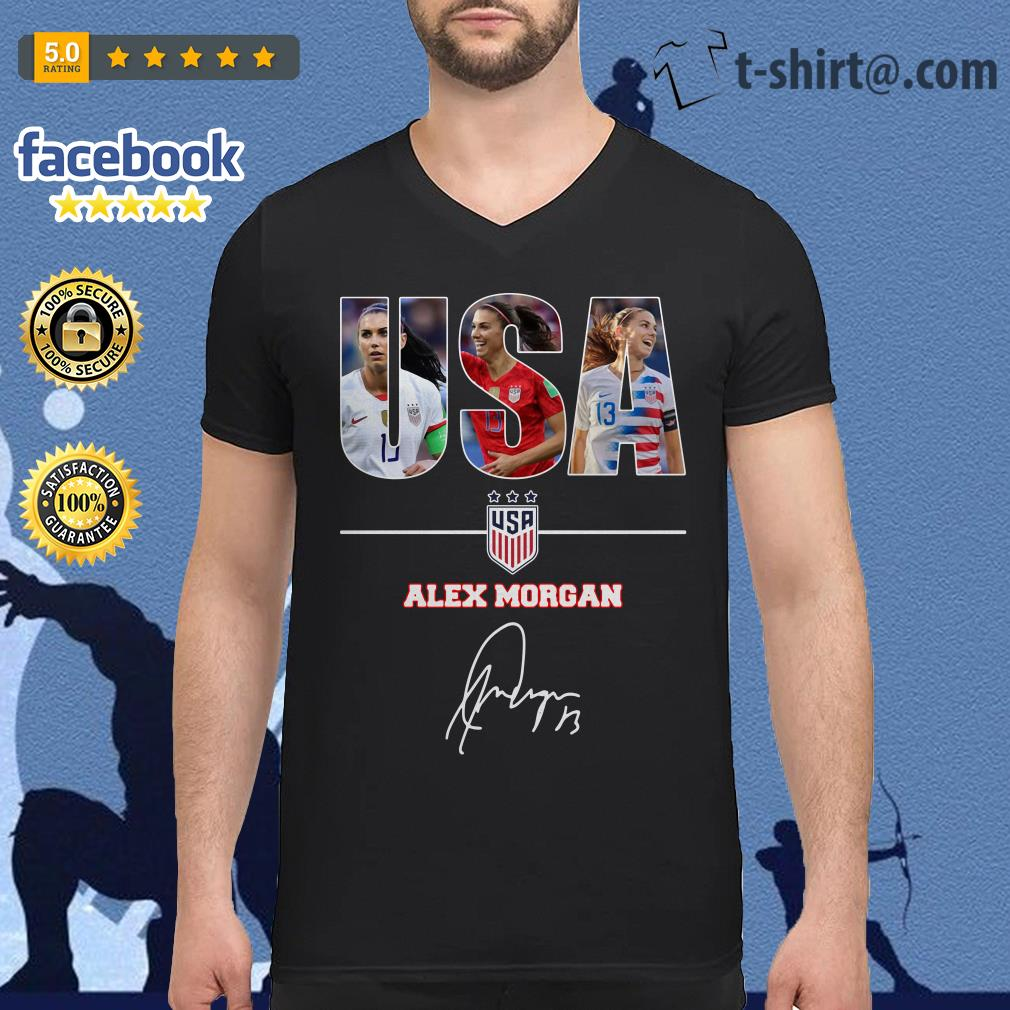 USA women's soccer team Alex Morgan signature V-neck T-shirt